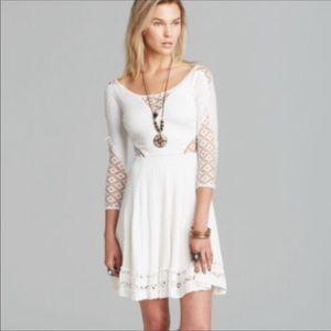 Free People Crochet Insert Fit & Flare Midi Dress